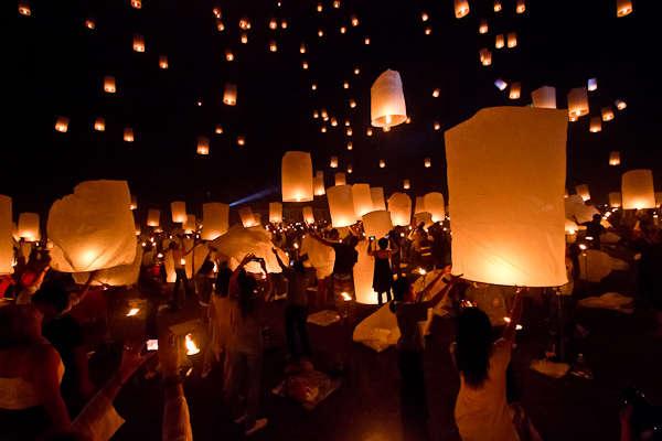 Yee Peng Lantern Festival near Chiang Mai, Thailand