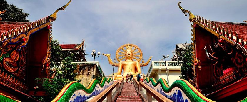 Climb to reach Big Buddha (Wat Phra Yai)